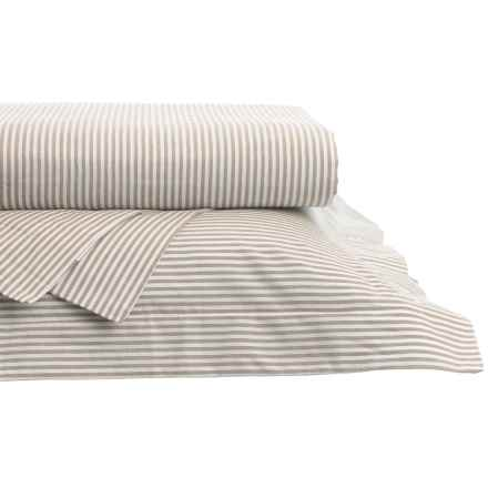 Westport Home Yarn-Dyed Oxford Stripe Sheet Set - Queen, 200 TC in Sand - Closeouts