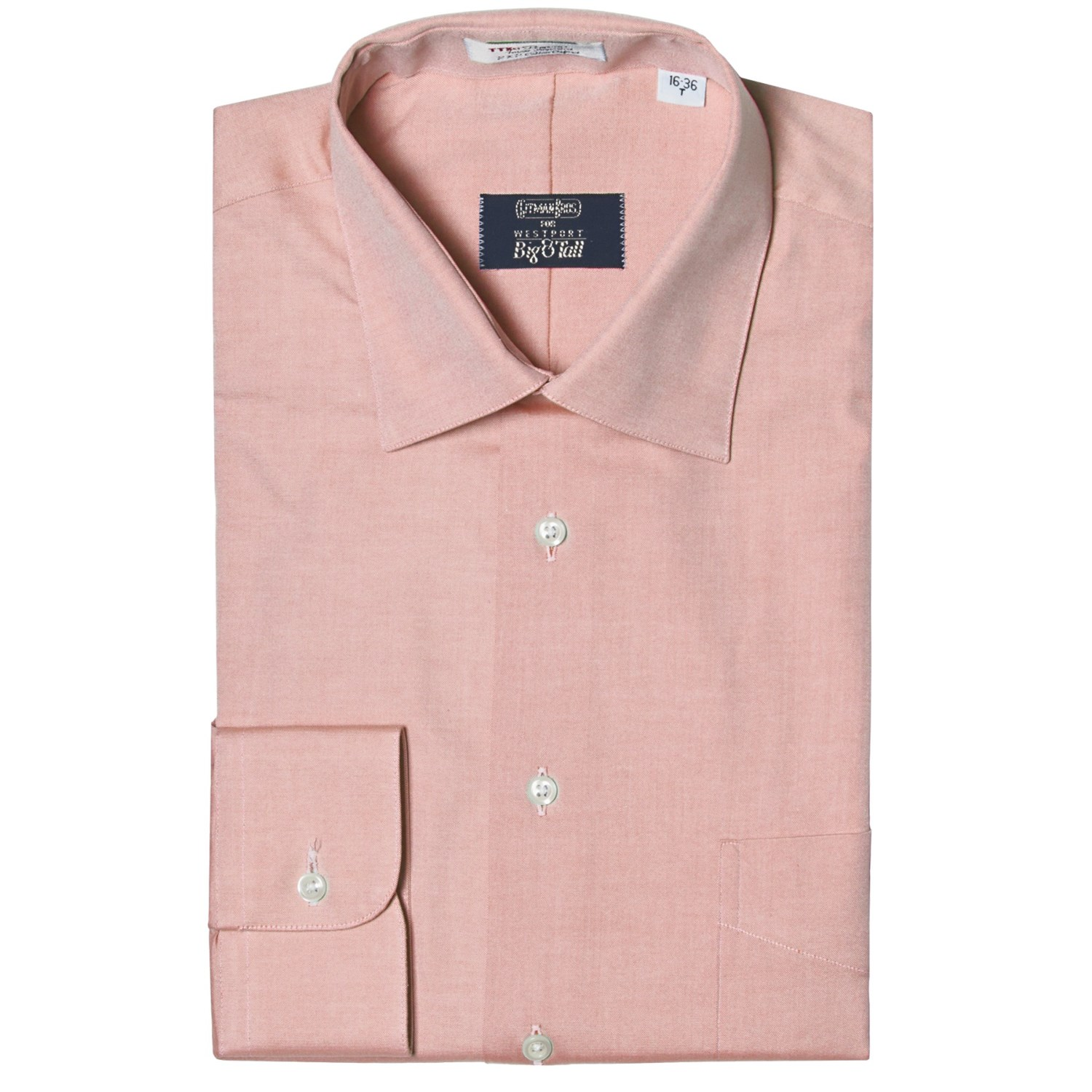 Westport solid dress shirt spread collar long sleeve for Dress shirts for big and tall