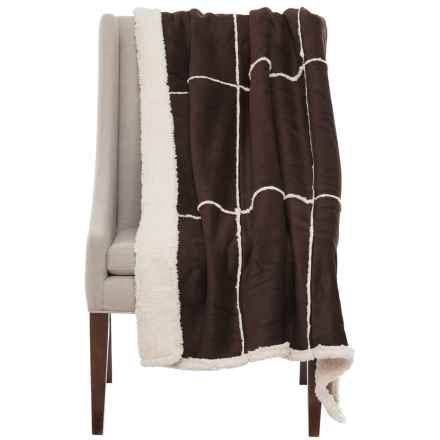 """Westport Suede and Sherpa Reversible Throw Blanket - 50x60"""" in Brown - Closeouts"""