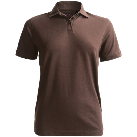 Whisper Pique 60/40 Polo Shirt - Short Sleeve (For Women) in Chocolate