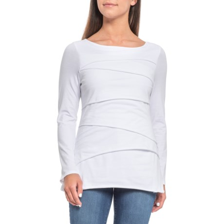 White Beijing Layered T-Shirt - Long Sleeve (For Women) - WHITE (L )