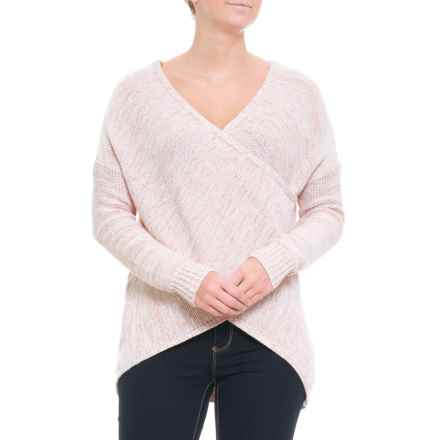 White Closet Australian Designer Oversized Criss Cross Knit Sweater (For Women) in Blush - Closeouts