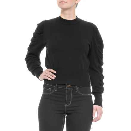 b1891b00c8c914 White Closet Australian Designer Puffy Sleeve Knit Shirt - Mock Neck