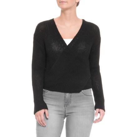 2e0ea08ac27895 White Closet Australian Designer Wrap Tie Knit Sweater (For Women) in Black  - Closeouts