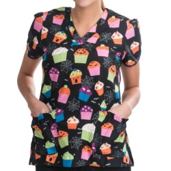 White Cross Shirred Scrub Top - Cotton, 2-Pocket, Short Sleeve (For Women) in Ghoulish Treats