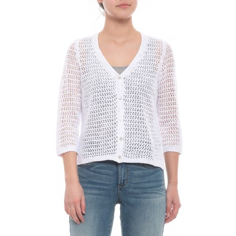 Image of White Marie Cardigan Sweater - 3/4 Sleeve (For Women)