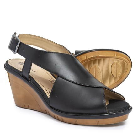 85ba5c007c6 White Mountain Barbershop Wedge Sandals - Leather (For Women) in Black