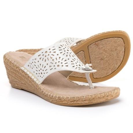 White Mountain Bobbie Wedge Sandals (For Women) in White/Metallic