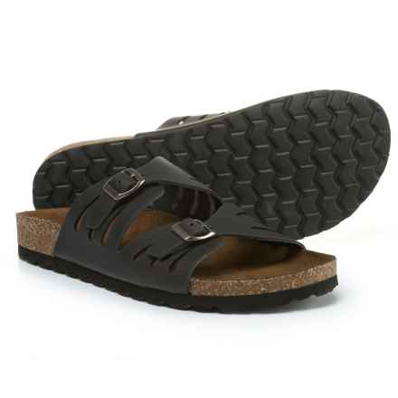 White Mountain Gwinnett Slide Sandals - Leather (For Women) in Black Crazy Horse - Closeouts