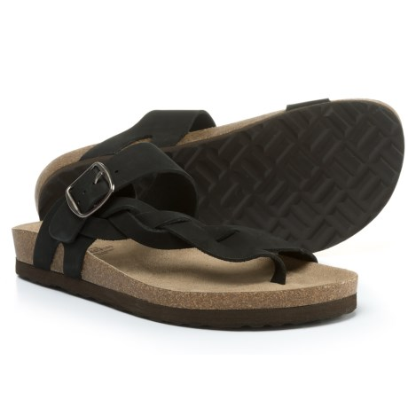 White Mountain Honor Braided Sandals - Leather (For Women) in Black Nb