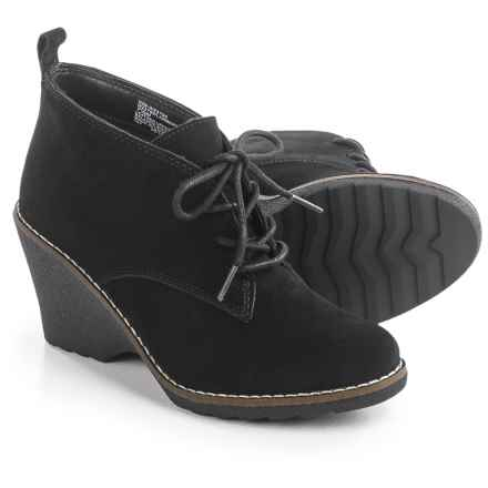 White Mountain Lambert Wedge Ankle Boots - Suede (For Women) in Black - Closeouts