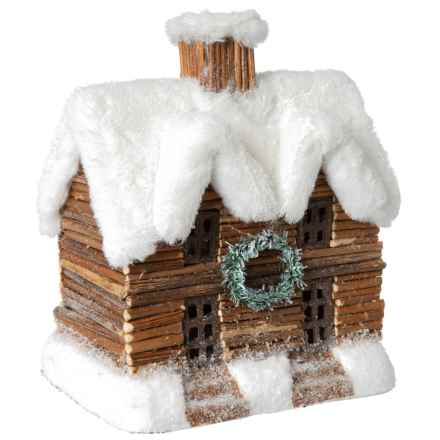 """White Pine House with LED Light - 8"""" in Brown/White - Closeouts"""