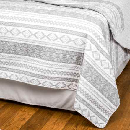 White Pine Snowflake Stripe Quilt - Full-Queen in Grey - Closeouts