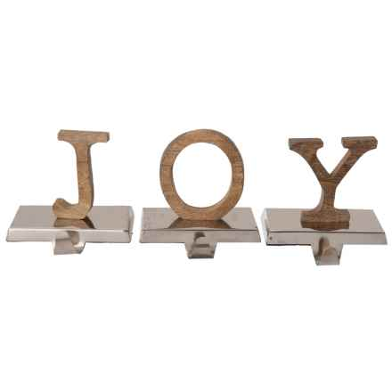"""White Pine Wood """"JOY"""" Stocking Holders - Set of 3 in Natural/Silver - Closeouts"""