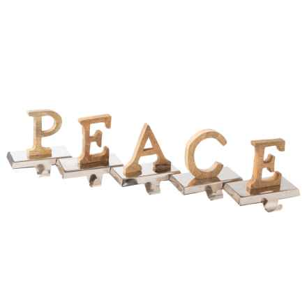 """White Pine Wood """"PEACE"""" Stocking Holders - Set of 5 in Natural/Silver - Closeouts"""