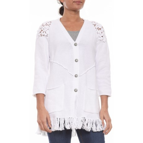 Image of White Recognition Cardigan Sweater (For Women)