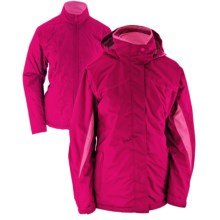 White Sierra All Seasons Jacket - Insulated, 3-in-1 (For Plus Size Women) in Bright Rose - Closeouts