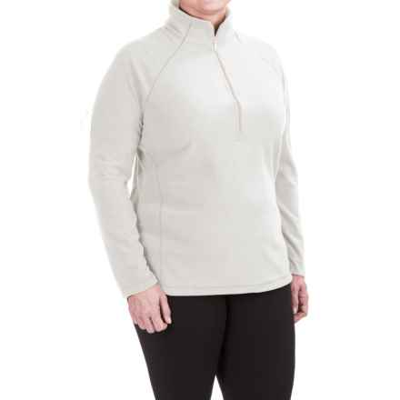 White Sierra Alpha Beta Fleece Shirt - Zip Neck, Long Sleeve (For Plus Size Women) in Cloud - Closeouts