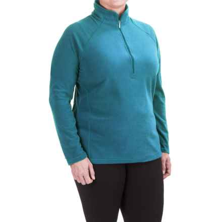 White Sierra Alpha Beta Fleece Shirt - Zip Neck, Long Sleeve (For Plus Size Women) in Saxony Blue - Closeouts