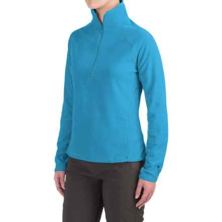 White Sierra Alpha Beta Fleece Shirt - Zip Neck, Long Sleeve (For Women) in Saxony Blue - Closeouts