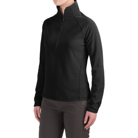 White Sierra Alpha Beta Pullover - Zip Neck, Long Sleeve (For Women) in Black