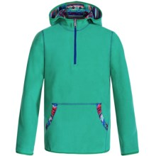 White Sierra Alpha Tek Fleece Hoodie - Zip Neck (For Little and Big Girls) in Mint Combo - Closeouts