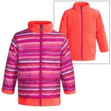 White Sierra Armor Fleece Reversible Jacket - Insulated (For Toddlers) in Sugar Plum Combo/Hot Coral - Closeouts