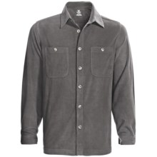 White Sierra Base Camp Shirt - Fleece, Long Sleeve (For Men) in Caviar - Closeouts