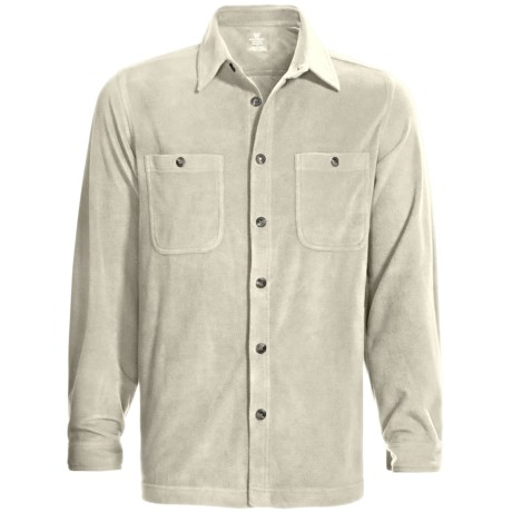 White Sierra Base Camp Shirt - Fleece, Long Sleeve (For Men) in Stone