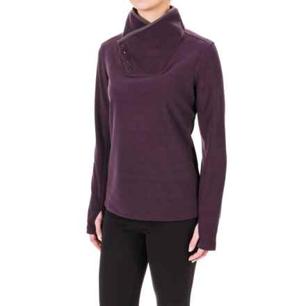 White Sierra Blacktail Fleece Shirt - Snap Neck, Long Sleeve (For Women) in Dark Purple - Closeouts