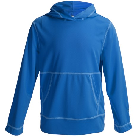White Sierra Bug Free Hoodie - UPF 30, Insect Shield®, Mesh Knit (For Youth) in Texas Blue