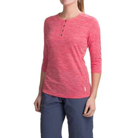 White Sierra Bug-Free Insect Shield® Trail Henley Shirt - 3/4 Sleeve (For Women) in Raspberry - Closeouts