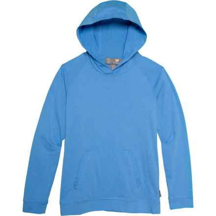 White Sierra Bug-Free Jersey Hoodie - UPF 30 (For Little and Big Girls) in Province Blue - Closeouts