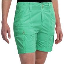 White Sierra Canyon Cargo Shorts (For Women) in Emerald Island - Closeouts