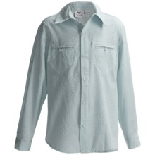 White Sierra Canyon Crest Shirt - Long Roll-Up Sleeve (For Little and Big Girls) in Jade - Closeouts
