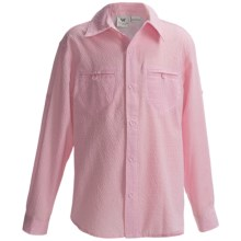 White Sierra Canyon Crest Shirt - Long Roll-Up Sleeve (For Little and Big Girls) in Pink Blossom - Closeouts