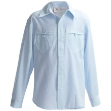 White Sierra Canyon Crest Shirt - Long Roll-Up Sleeve (For Little and Big Girls) in Sky Blue - Closeouts