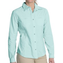 White Sierra Canyon Crest Shirt - UPF 30, Long Roll-Up Sleeve (For Women) in Icy Jade - Closeouts