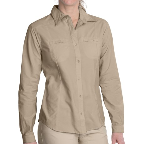 White Sierra Canyon Crest Shirt - UPF 30, Long Roll-Up Sleeve (For Women) in Icy Jade