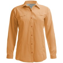 White Sierra Canyon Crest Shirt - UPF 30, Roll-Up Long Sleeve (For Plus Size Women) in Warm Apricot - Closeouts