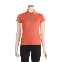 White Sierra Channel Island Polo Shirt - Zip Neck, Short Sleeve (For Women) in Coral - Closeouts
