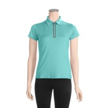 White Sierra Channel Island Polo Shirt - Zip Neck, Short Sleeve (For Women) in Turquoise - Closeouts