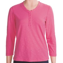 White Sierra Cotton-Rich Seaside Shirt - 3/4 Sleeve (For Women) in Carmine Rose - Closeouts