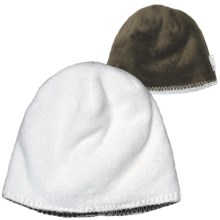White Sierra Cozy Beanie Hat - Reversible Fleece (For Women) in Cloud R/Cigar - Closeouts