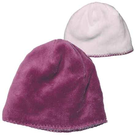 White Sierra Cozy Beanie Hat - Reversible Fleece (For Women) in Crushed Grape Cloud - Closeouts