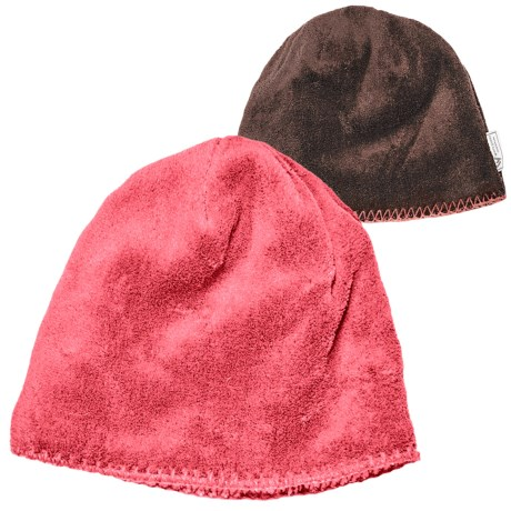 White Sierra Cozy Beanie Hat - Reversible Fleece (For Women) in Dark Coral/Chocolate