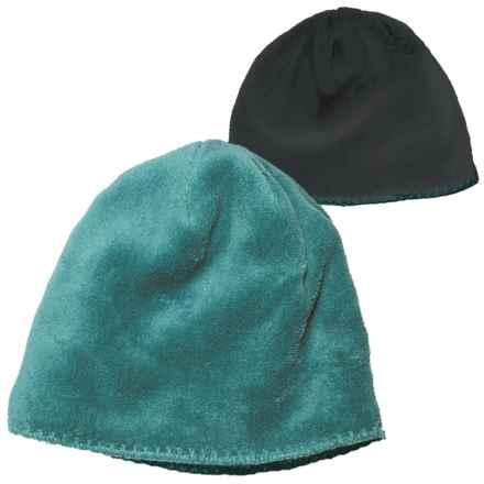 White Sierra Cozy Beanie Hat - Reversible Fleece (For Women) in Pacific Mole - Closeouts