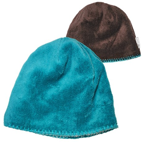White Sierra Cozy Beanie Hat - Reversible Fleece (For Women) in Peacock/Chocolate