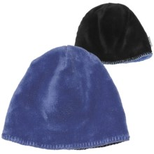 White Sierra Cozy Beanie Hat - Reversible Fleece (For Women) in Sapphire R/Black - Closeouts