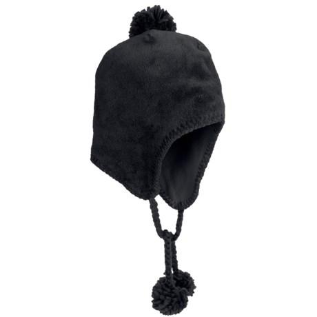 White Sierra Cozy Flap Beanie Hat - Fleece (For Women) in Black
